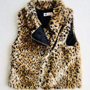 H&M Faux Fur Leopard Print Vest